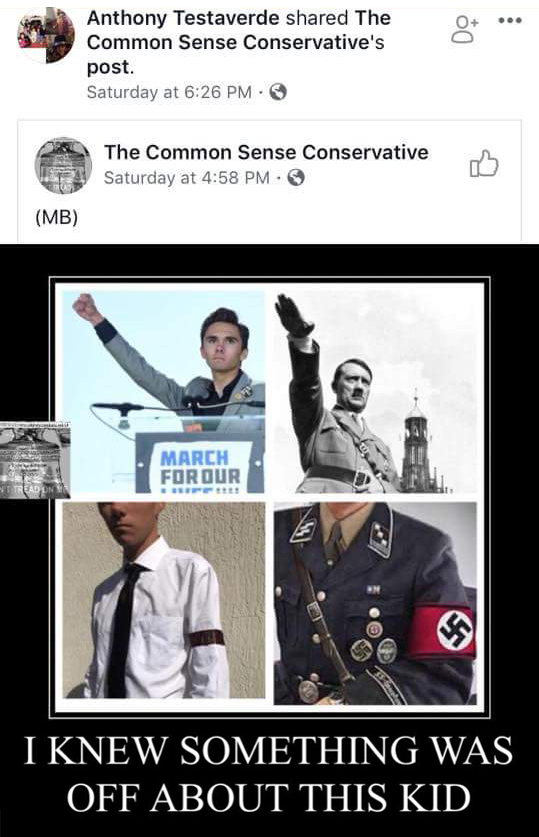 "A screencapture of Anthony Testaverde sharing an image from The Common Sense Conservative showing Parkland survivor and gun control advocate David Hogg next to images of Adolph Hitler and Nazis, comparing their poses and choice of clothing. The bottom of the image says ""I knew something was off about this kid."""