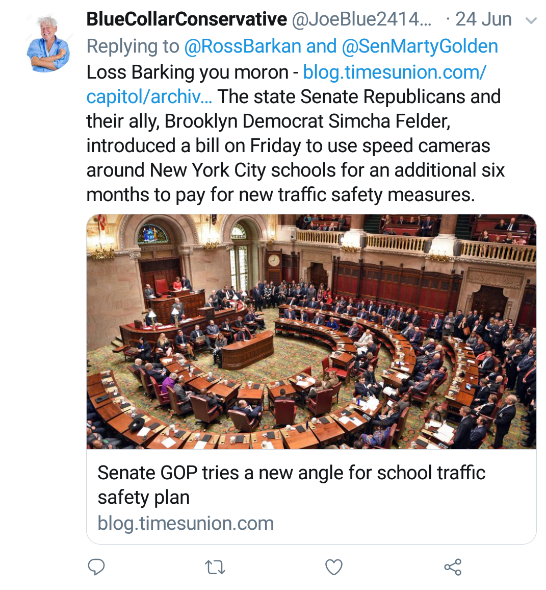 "Blue Collar Conservative Tweeted: ""Loss Barking you moron"" replying to @RossBarkan and @SenMartyGolden linking to a timesunion.com article about Senate GOP plans for school traffic safety."
