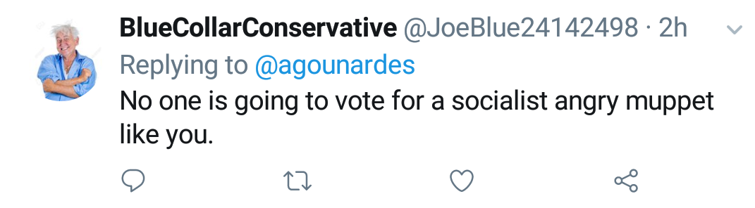 "Blue Collar Conservative Tweeted: ""No one is going to vote for a socialist angry muppet like you."" replying to @agounardes"