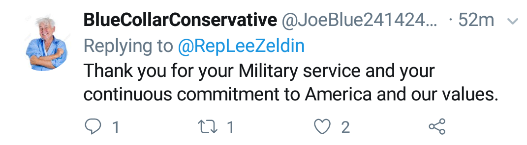 "Blue Collar Conservative Tweeted: ""Thank you for your Military Service and your continuous commitment to America and our values."" to @RepLeeZeldin"