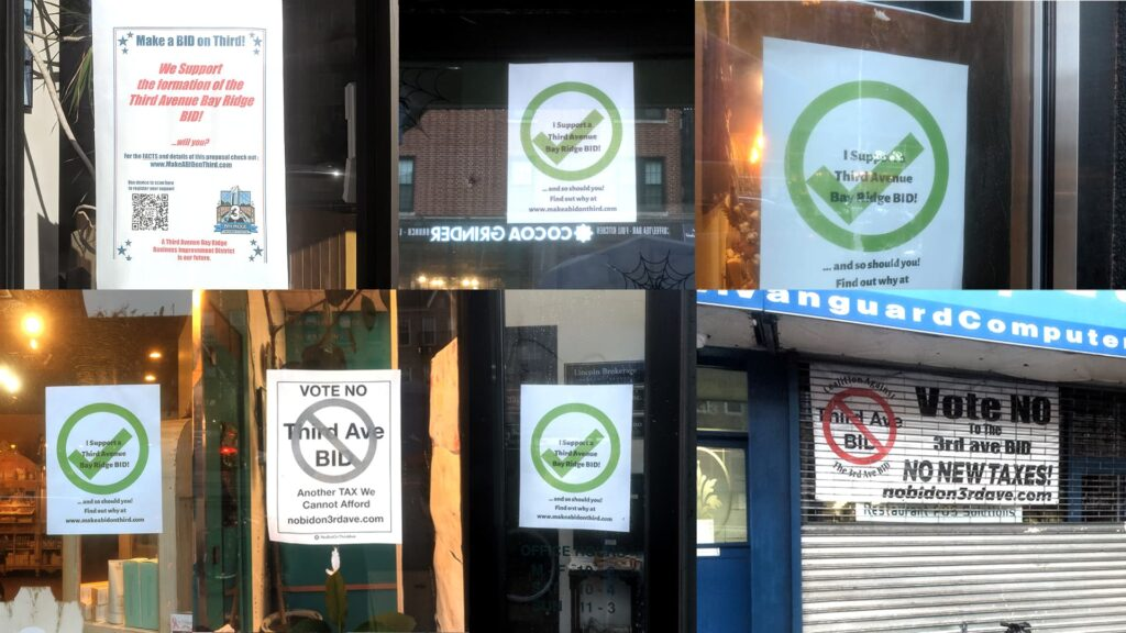 Bay Ridge 3rd Ave BID Support and Opposition Signs