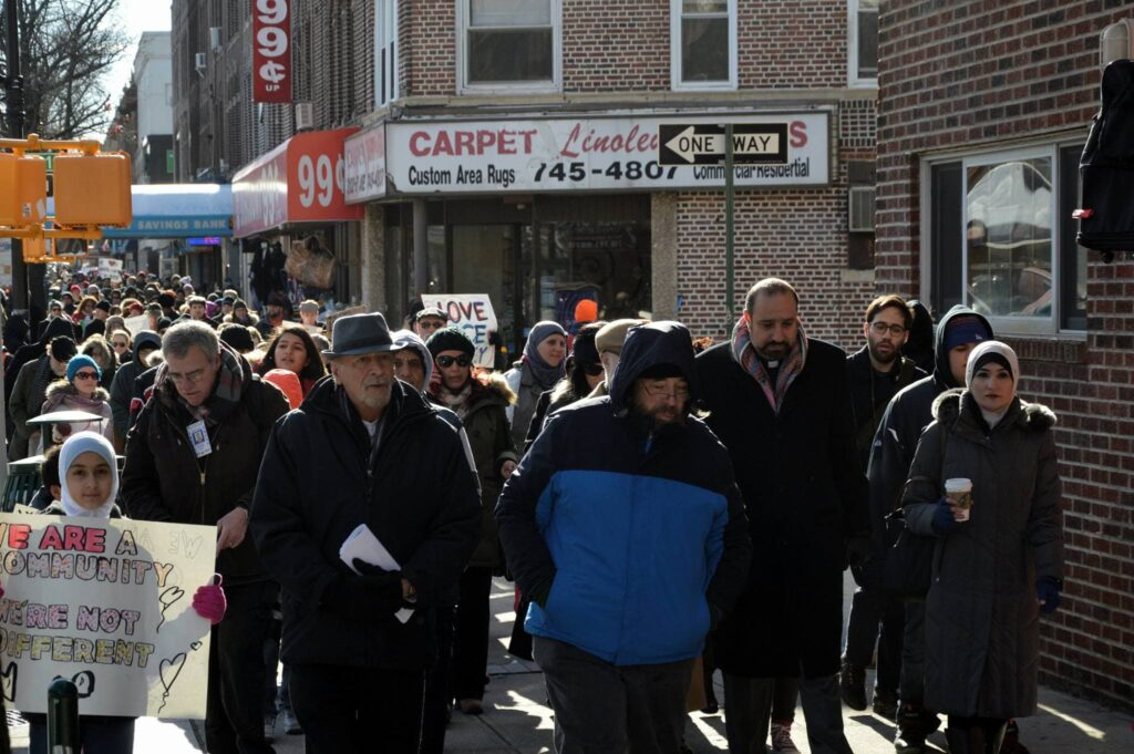 A crowd marches in Bay Ridge for the first annual MLK March Against Hate