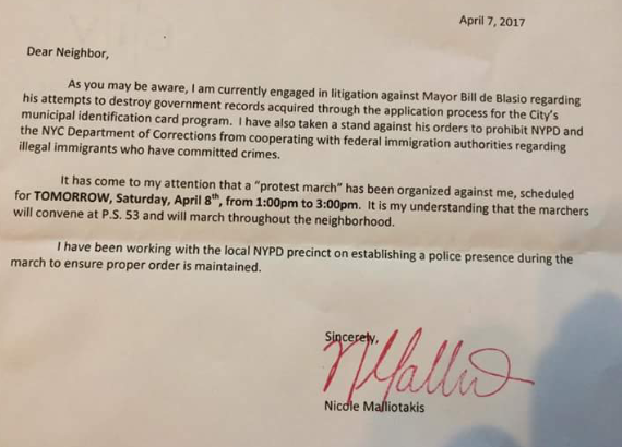A letter Nicole Malliotakis sent to neighbors warning of an IDNYC protest
