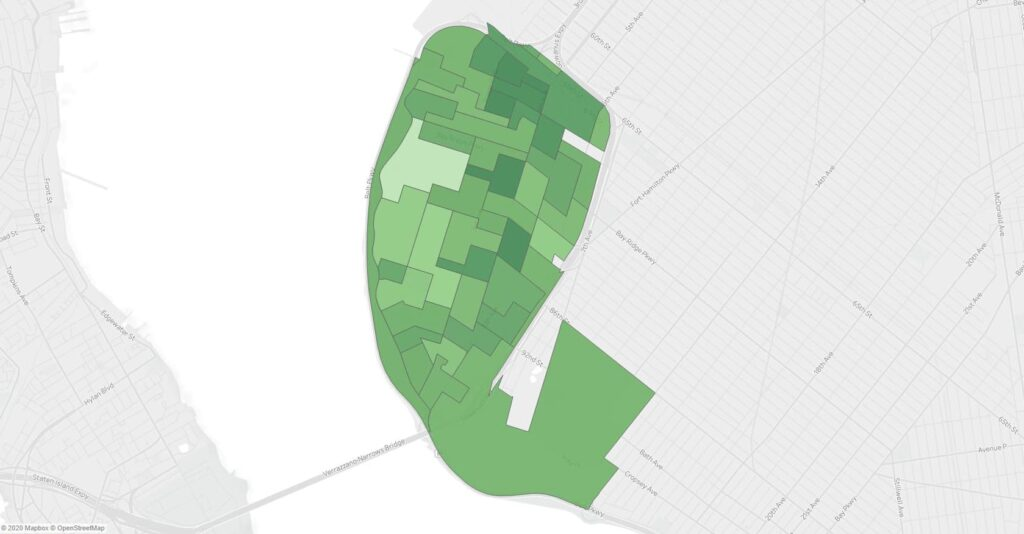 A map showing support for Ballot Measure 3 in the November 2019 NYC General Election in Bay Ridge