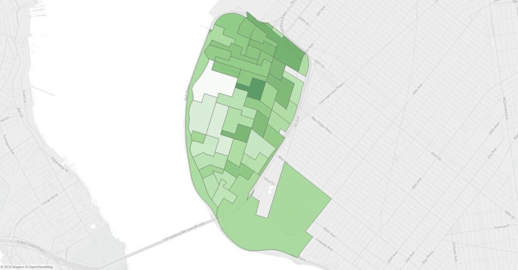 A map showing support for Ballot Measure 4 in the November 2019 NYC General Election in Bay Ridge