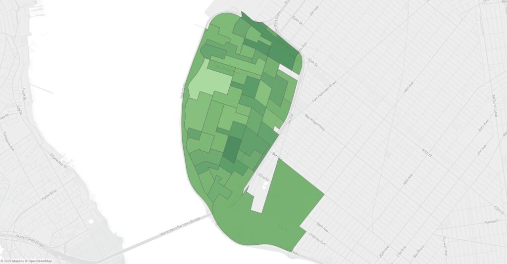 A map showing support for Ballot Measure 5 in the November 2019 NYC General Election in Bay Ridge