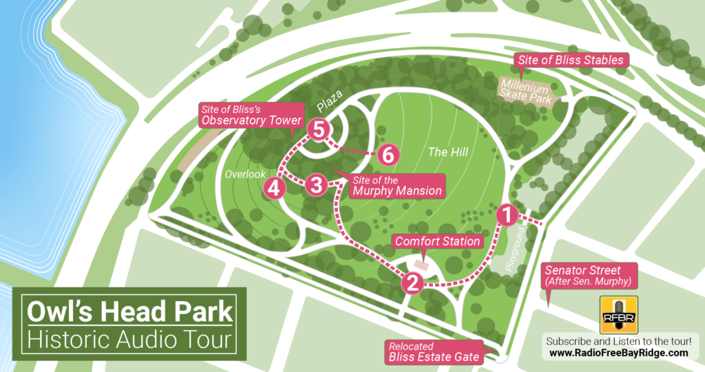 A map of the Owl's Head Walking Tour