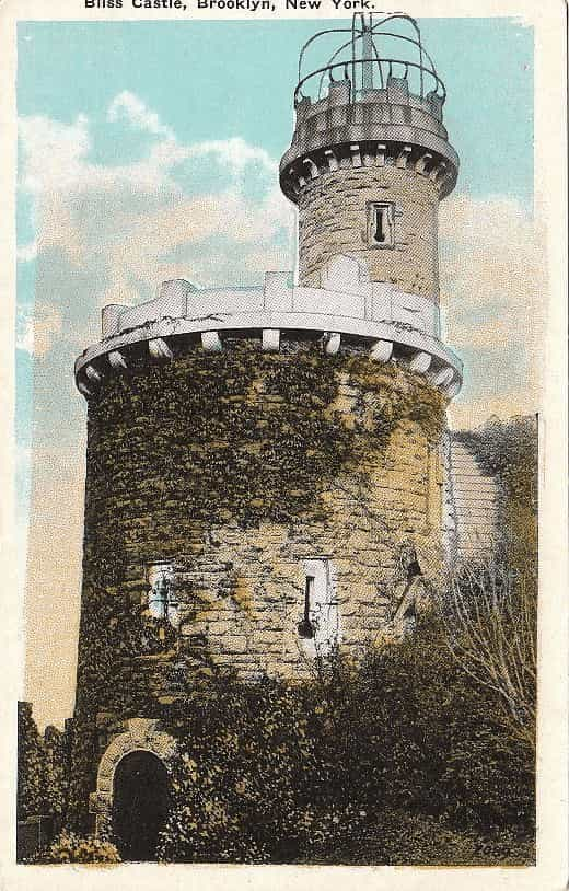 "Eliphalet Bliss's observation tower, known as ""Bliss Castle"", which sat on the bluff overlooking the Narrows."