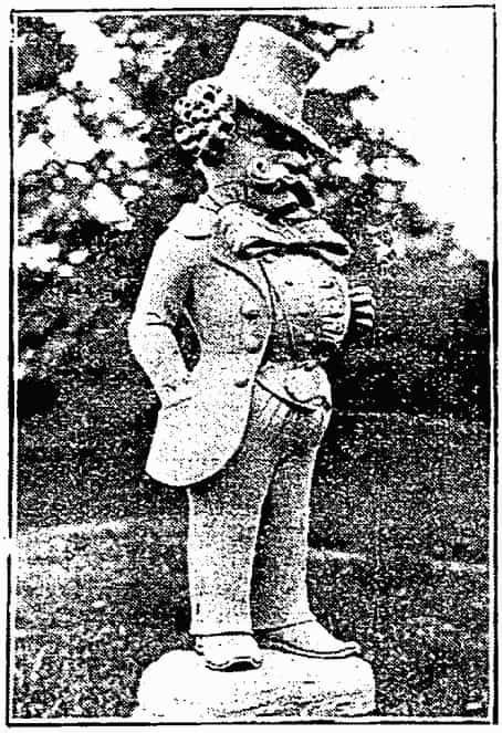 One of E.W. Bliss's odd mustachioed sandstone statues that stood along the entrance to his estate.