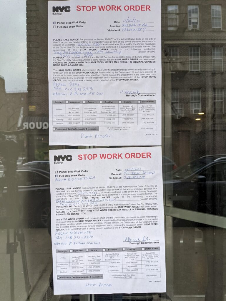 Stop work orders issued by the Department of Buildings to Revlyn Apartments LLC and Alan Polen, the landlord, for unsafe work conditions.