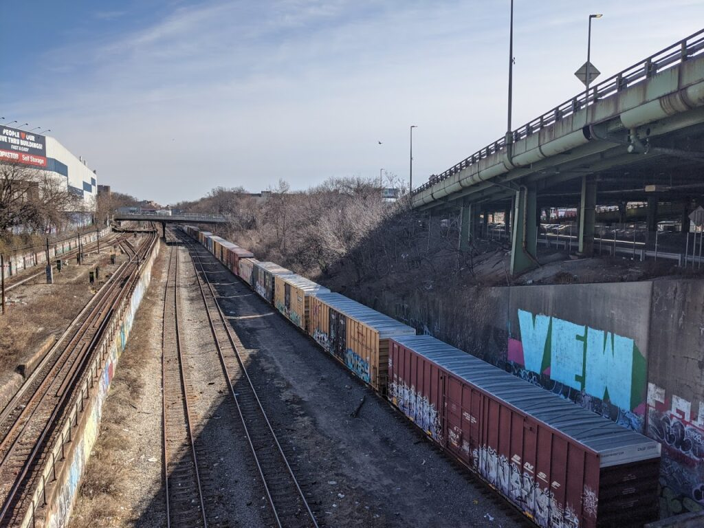 A view of the Bay Ridge Line right of way, the proposed western route of the Triboro rail line