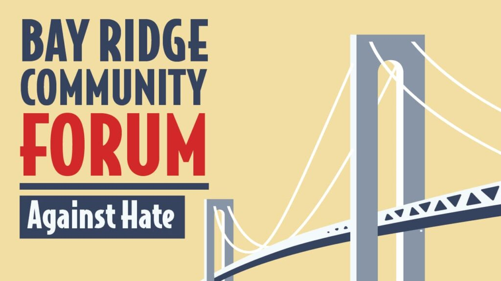 A banner image advertising the 2020 Bay Ridge Community Forum Against Hate.
